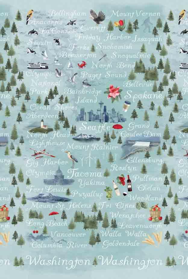 Pacific Fabrics Exclusive - Washington Map (Mist)