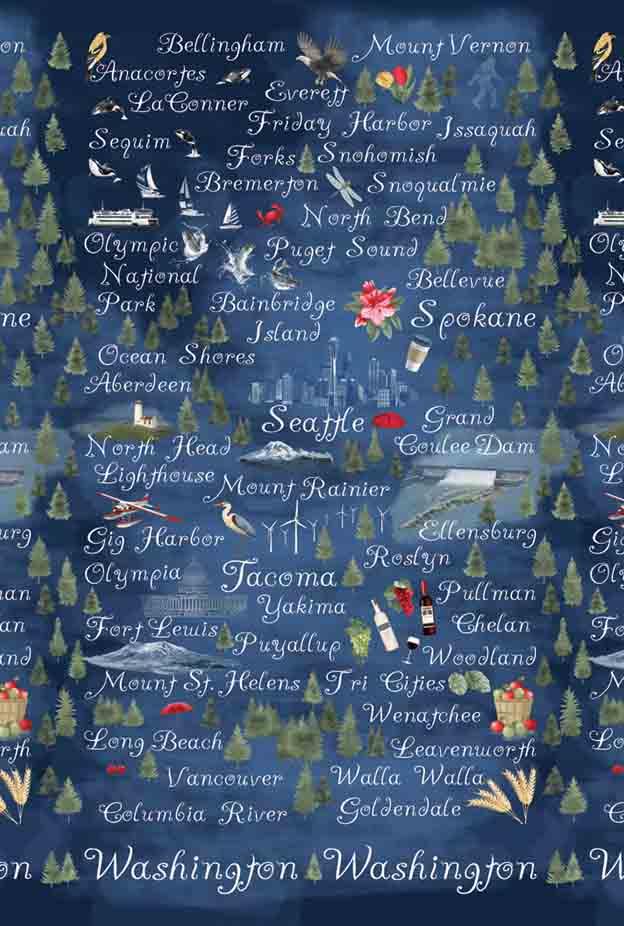 Pacific Fabrics Exclusive - Washington Map (Night)