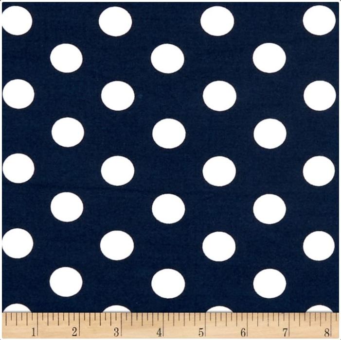 Fabric Merchants - Double Brushed Poly Spandex Jersey Knit - Medium Polka Dots (Navy/White)