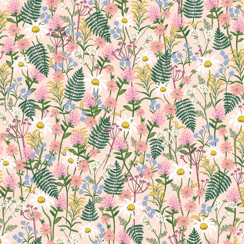 Cotton + Steel - Wildwood - LAWN - Wildflowers (Pale Rose)
