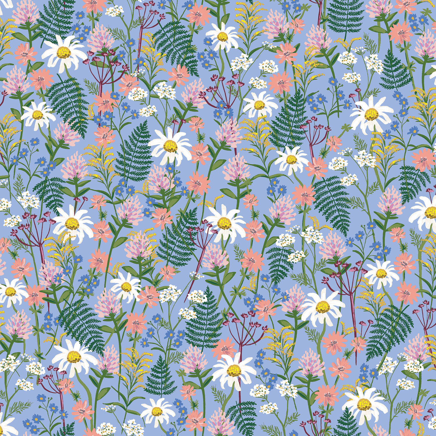 Cotton + Steel - Wildwood - LAWN - Wildflowers (Periwinkle)