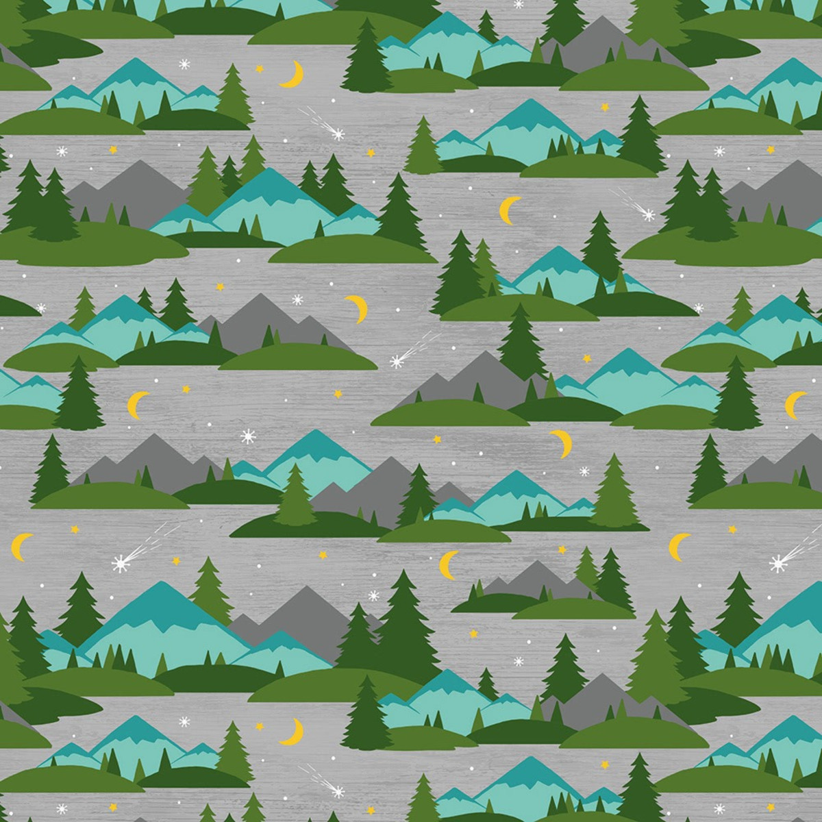 Wilmington Prints - Gone Glamping - Mountains & Trees (gray)