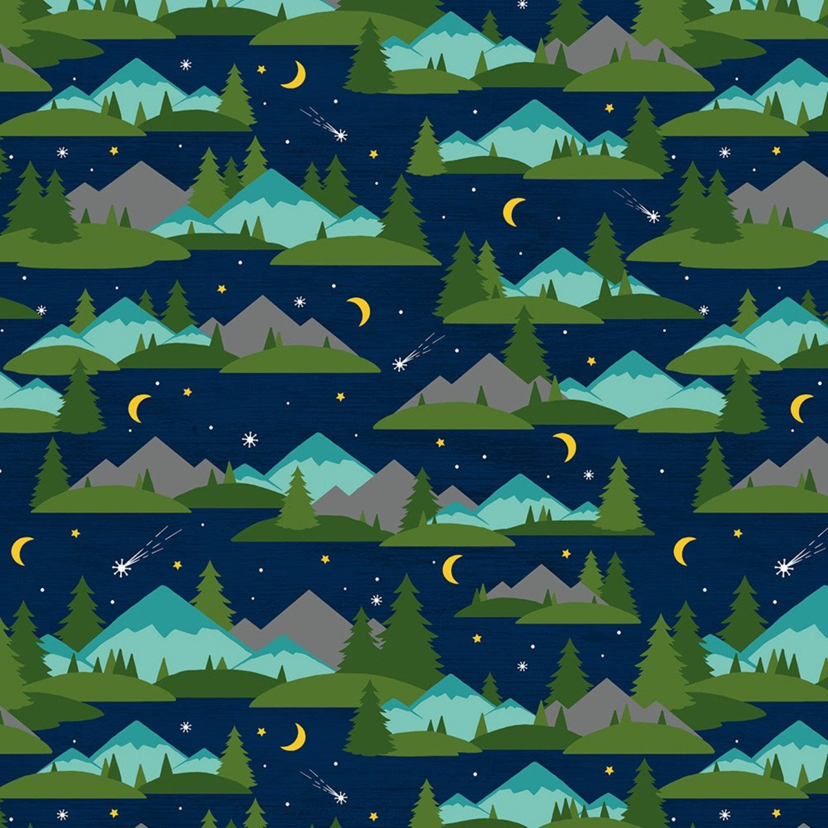 Wilmington Prints - Gone Glamping - Mountains & Trees (Blue)