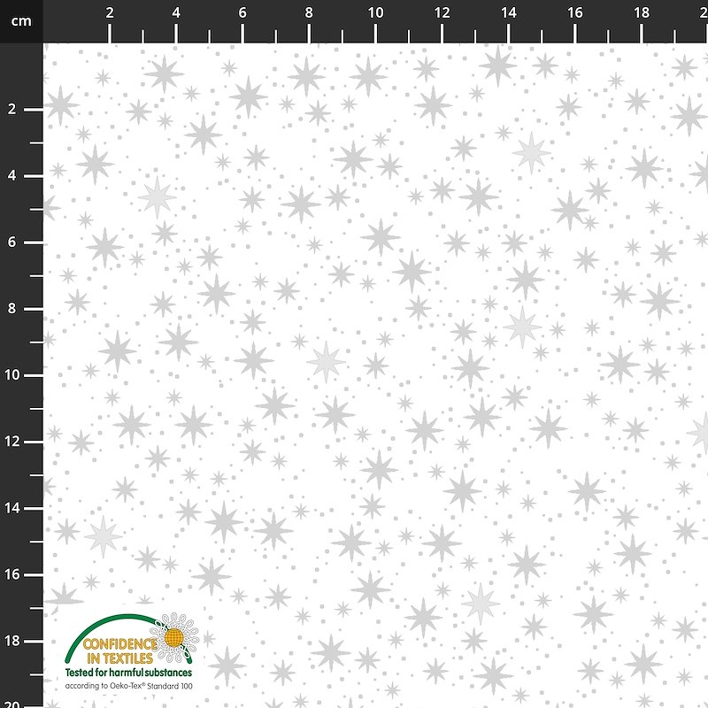 Stof Fabrics -  Christmas is Near - Stars White/Silver