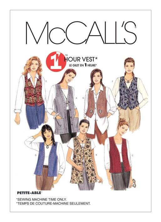 McCall's Pattern -  Misses' Unlined Vests In Two Lengths M2260