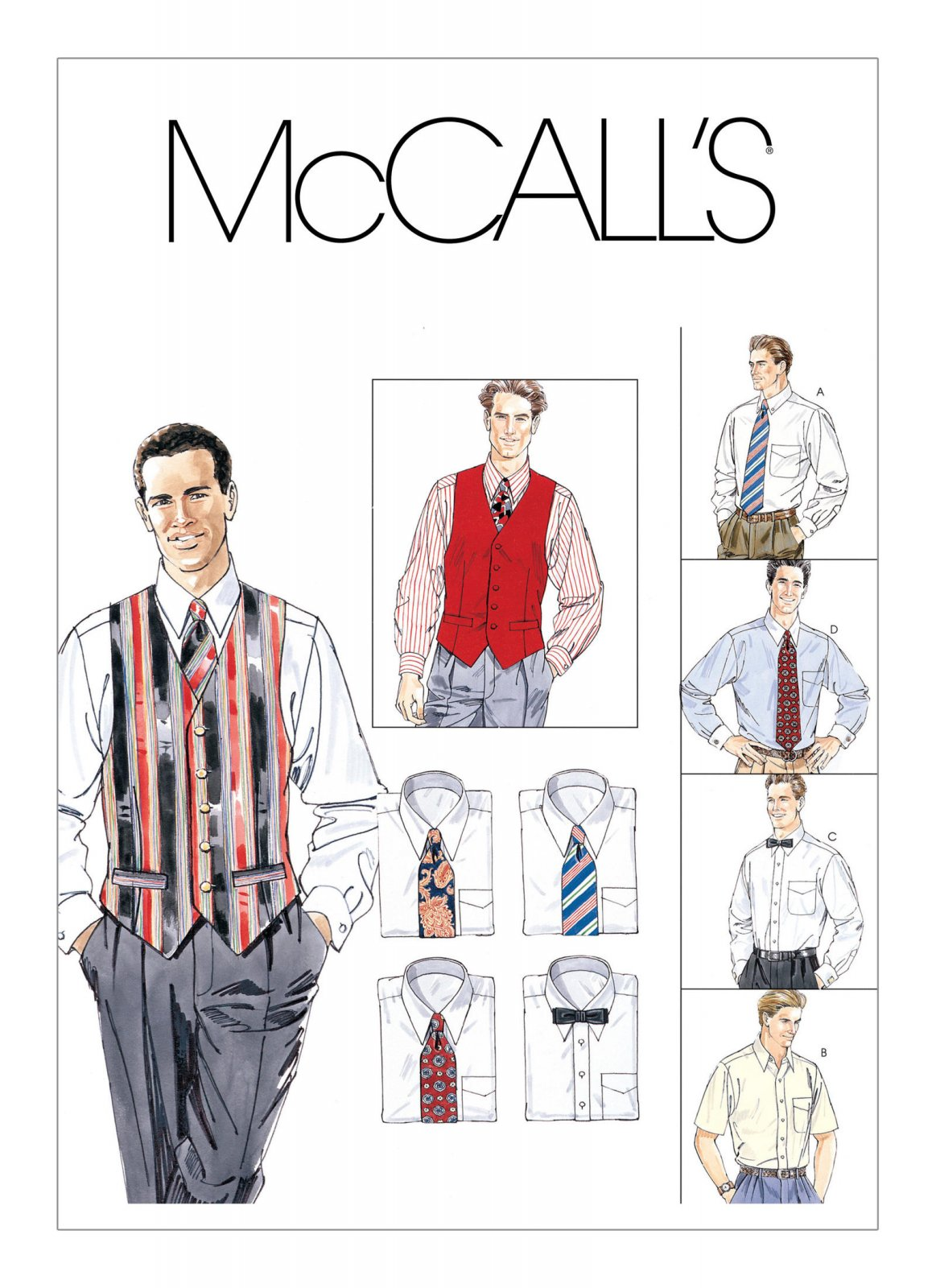 McCall's Pattern - Men's Lined Vest Button-Down Shirt Tie and Bow Tie M2447