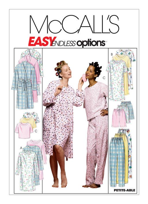 McCall's Pattern - Misses' Robe Nightgown or Top and Pull-On Pants or Shorts M2476
