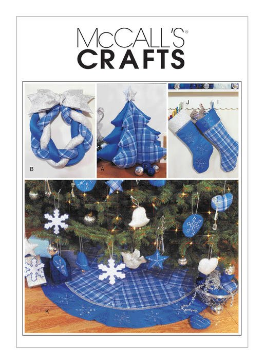 McCall's Pattern - Christmas Decorations Wreath Ornaments Stockings and Tree Skirt M3777