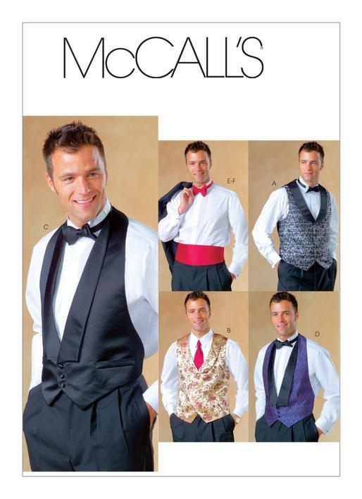 McCall's Pattern - Men's Shawl Collar Vests Bow Tie and Cummerbund M4321