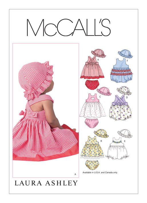 McCall's Pattern - Infants' Criss-Cross Dresses Rompers Panties and Hat M4424