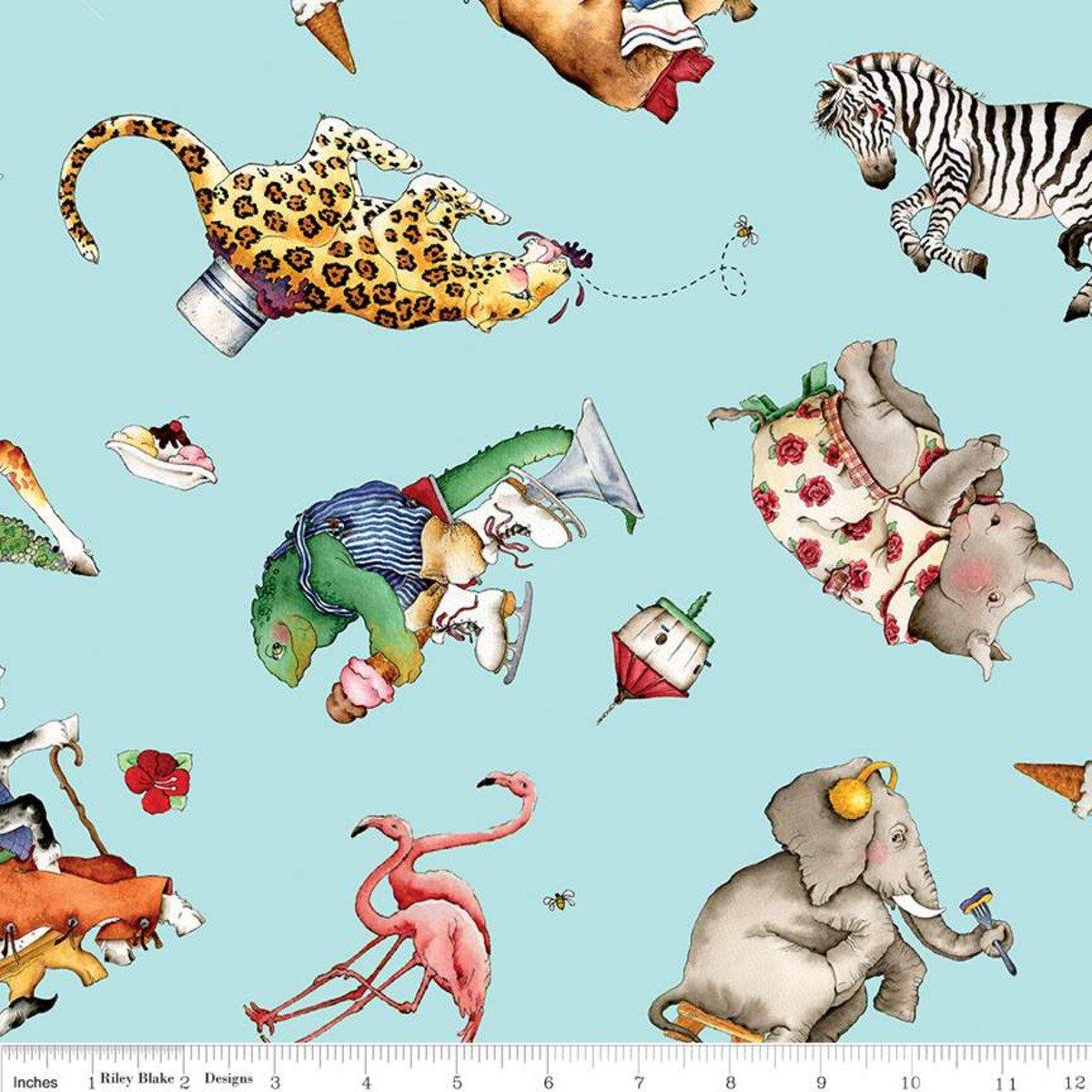 Riley Blake, Hungry Animal Alphabet Animal Toss - blue