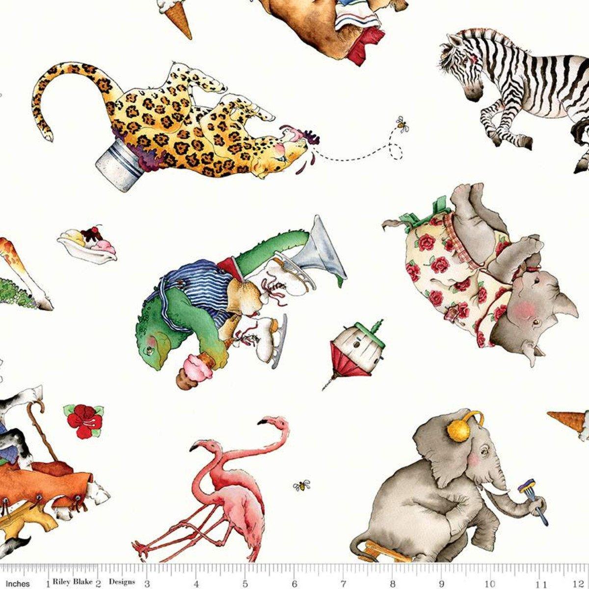 Riley Blake, Hungry Animal Alphabet Animal Toss - White