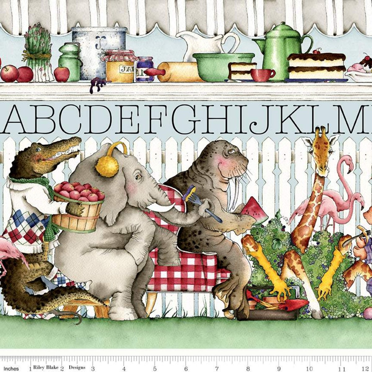 Riley Blake, Hungry Animal Alphabet Border Stripe