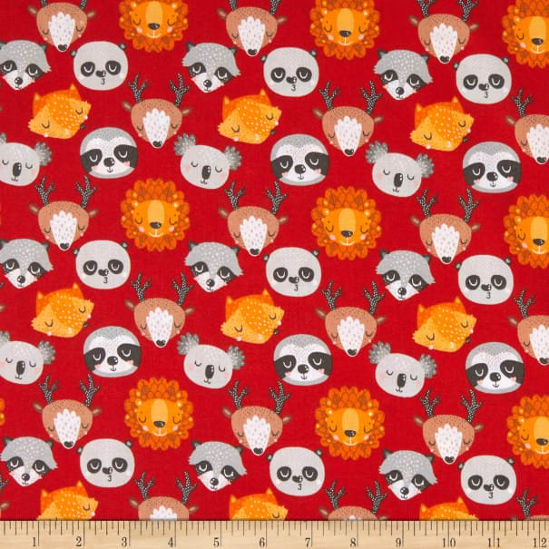 Animal Hugs Animal Faces Red by 3 Wishes Fabrics