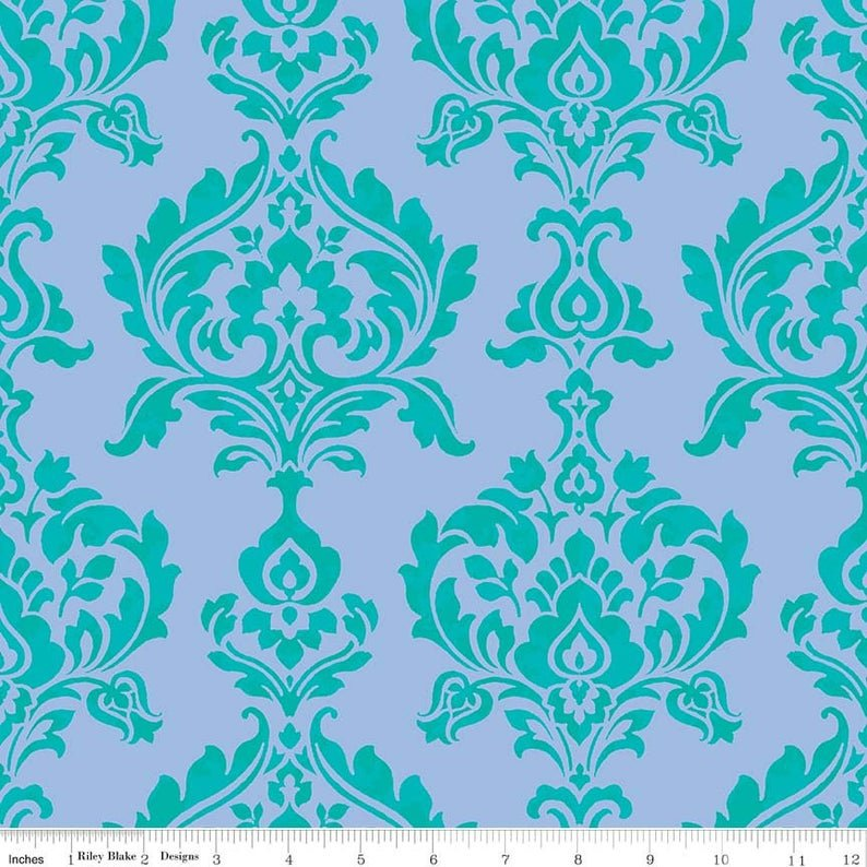 Berkshire Garden Damask Periwinkle by Riley Blake