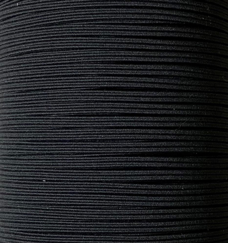 1/8 inch Braided Elastic BLACK- 10 yards