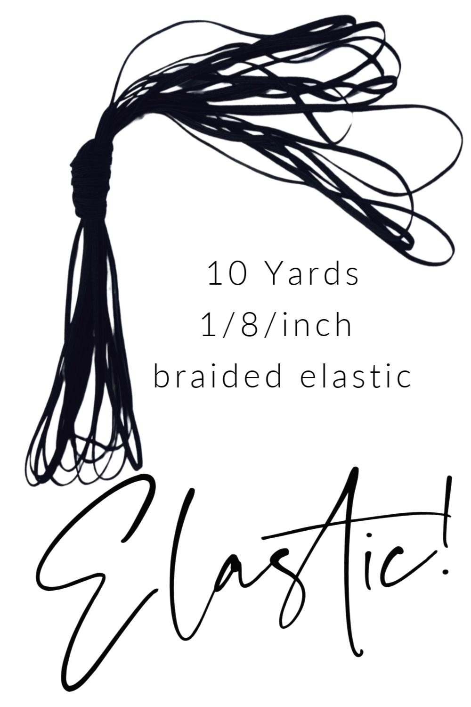 1/8/inch Braided Elastic BLACK- 10 yards