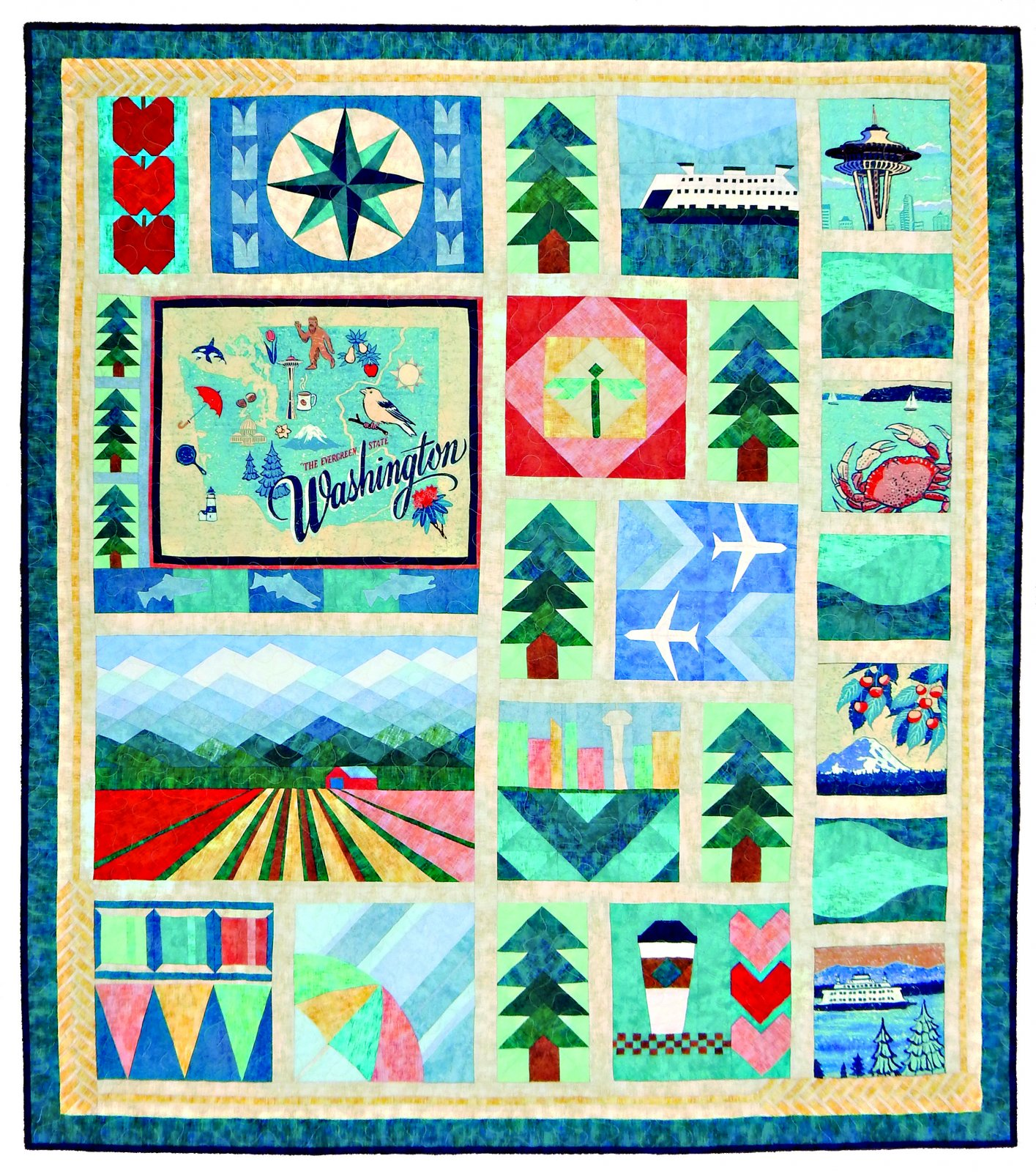 Evergreen State Complete Quilt Kit (Pattern and Panel)