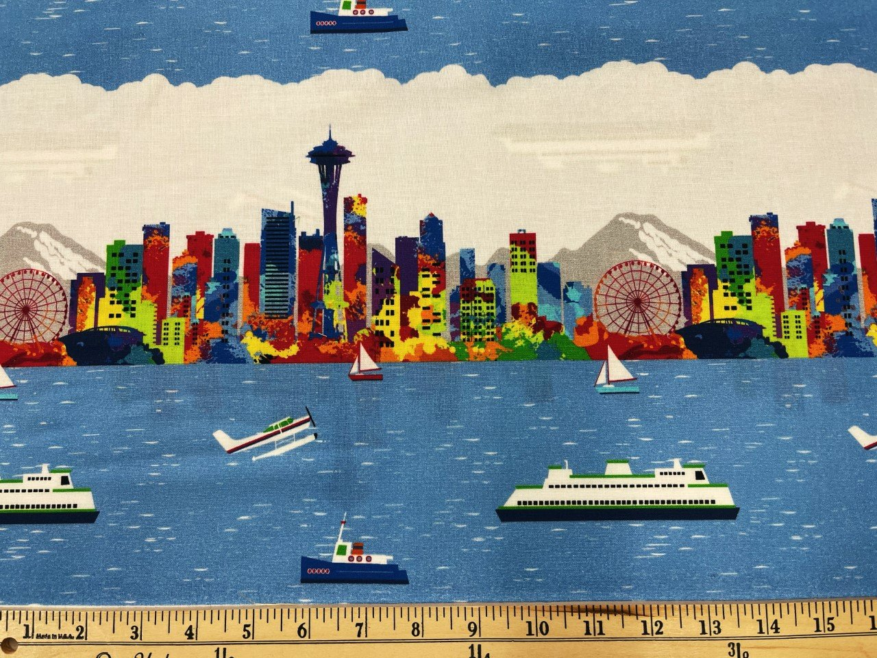 Pacific Fabrics Exclusive, Seattle Skyline - Repeat Stripe - Bright