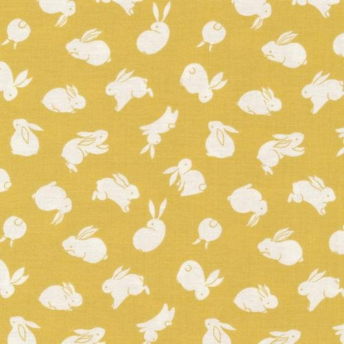 Paintbrush Studio Fabrics, Moon Rabbit, BUNNIES - Gold