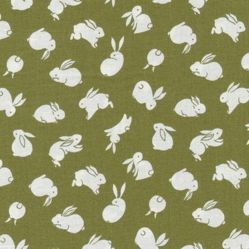 Paintbrush Studio Fabrics, Moon Rabbit, BUNNIES - Green