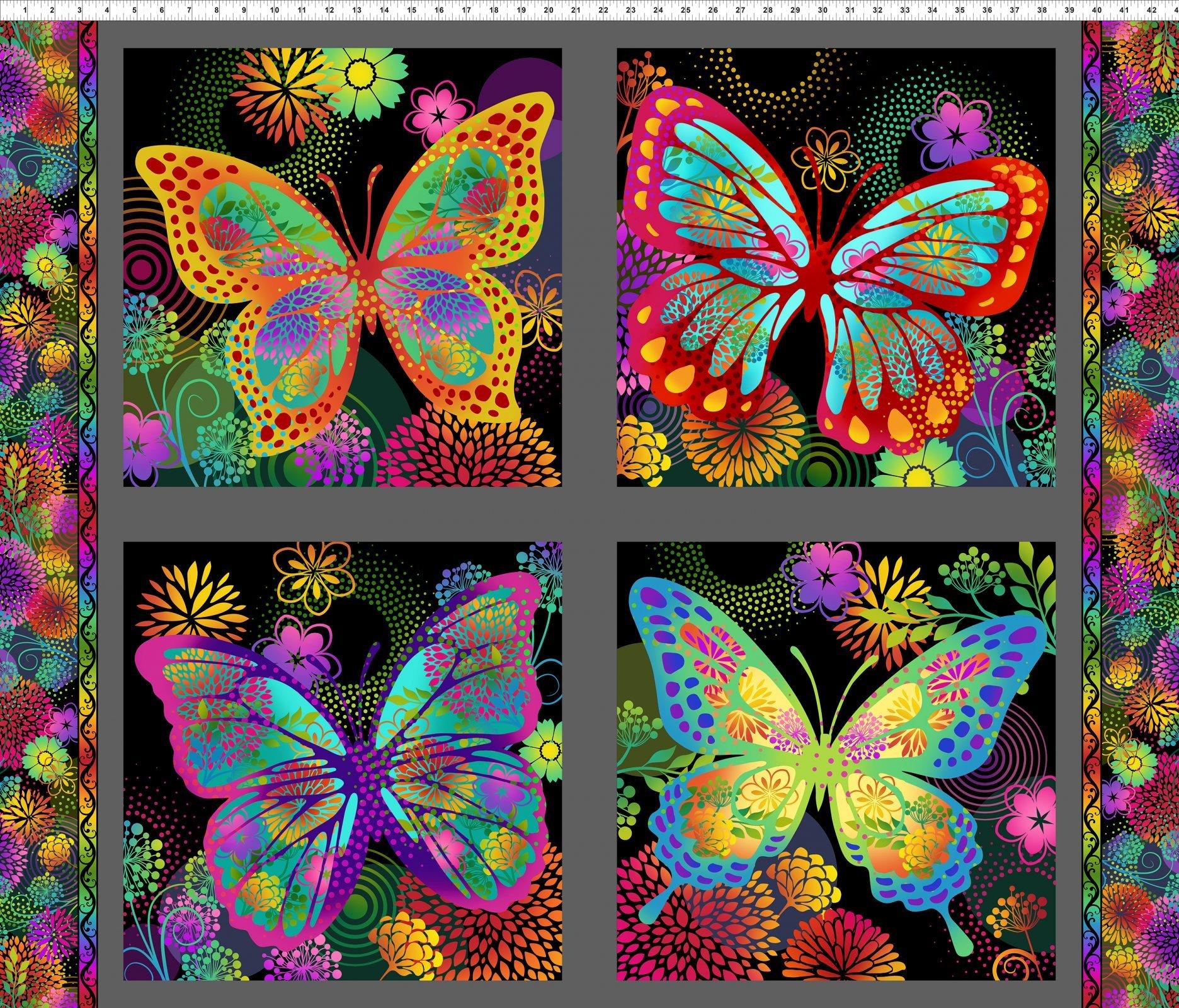 In The Beginning, Unusual Garden II - Butterfly Panel Multi/Black