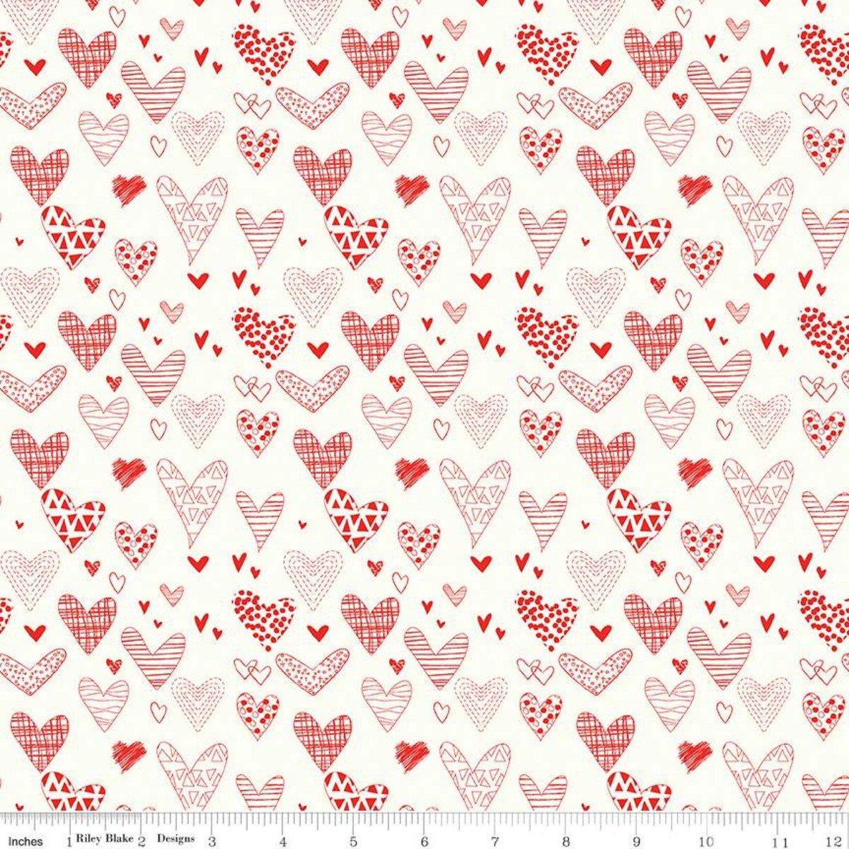 Riley Blake, From the Heart - Cream Hearts