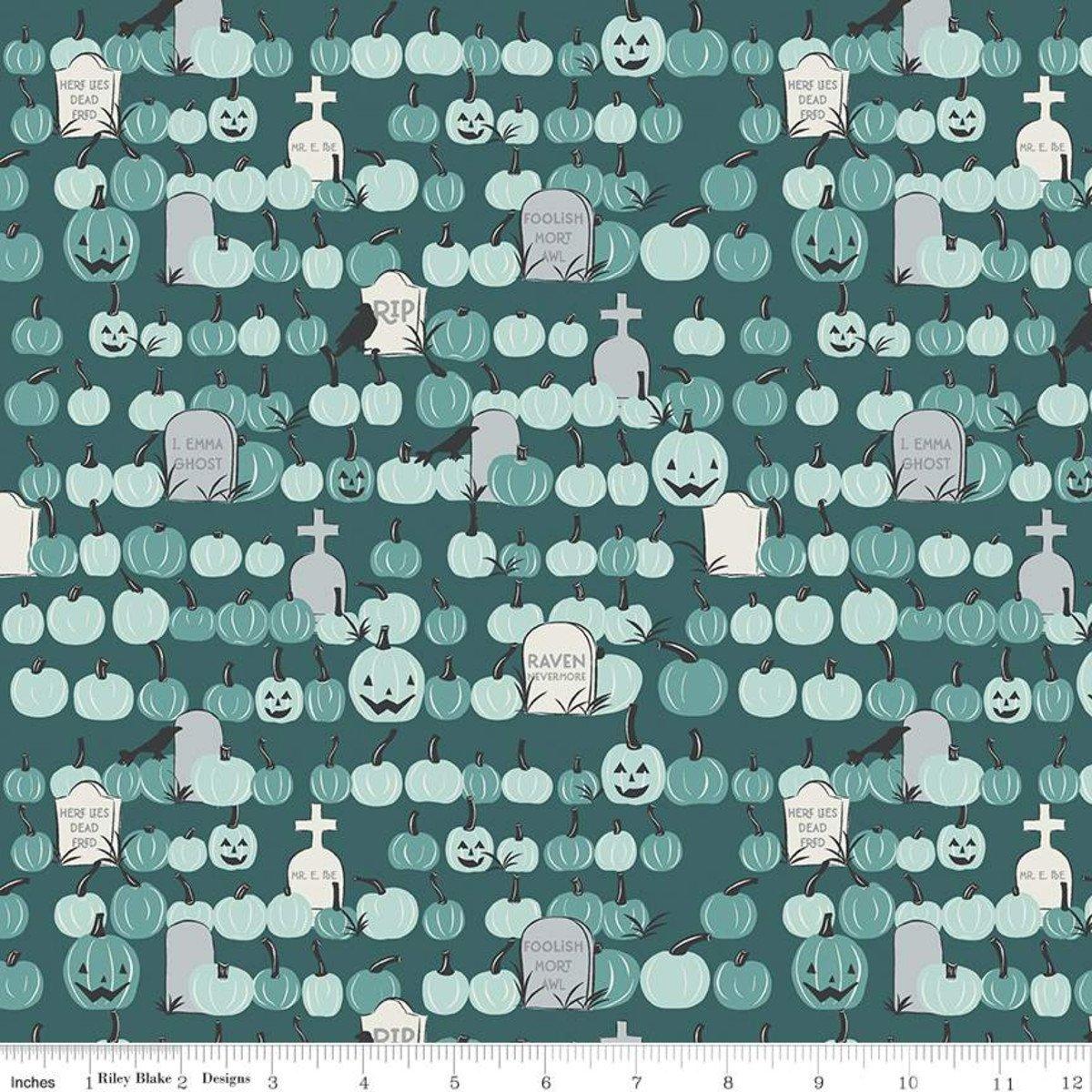 Riley Blake Designs, Spooky Hollow - Pumpkins Teal