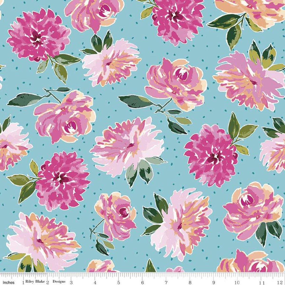 Riley Blake Designs, Lucy June -  Flowers Aqua