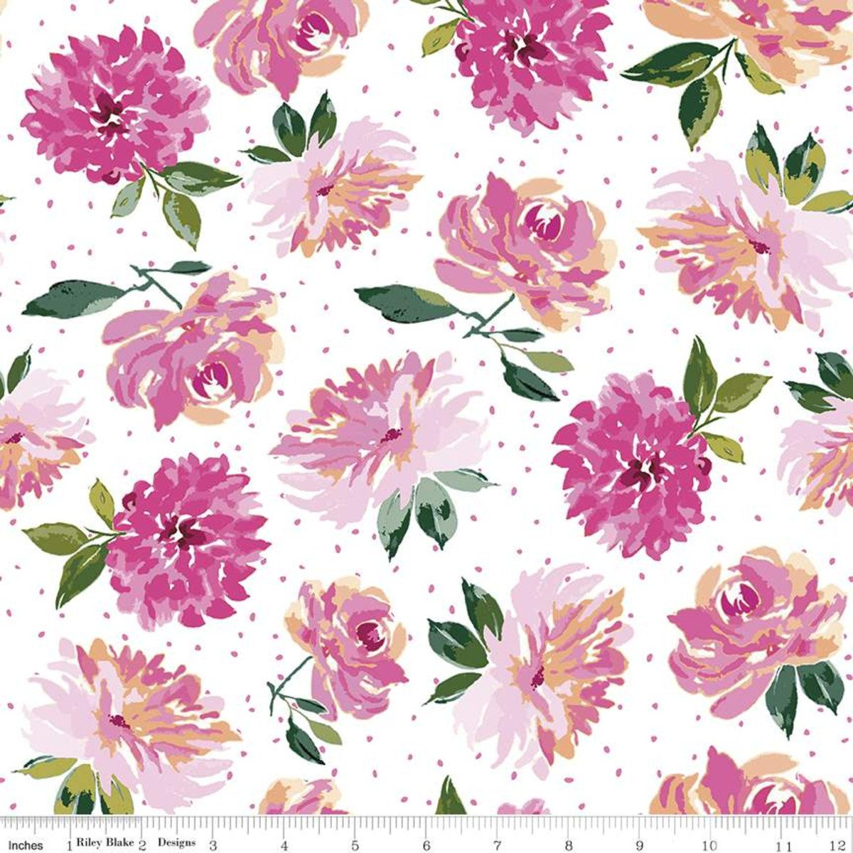 Riley Blake Designs, Lucy June -  Flowers White