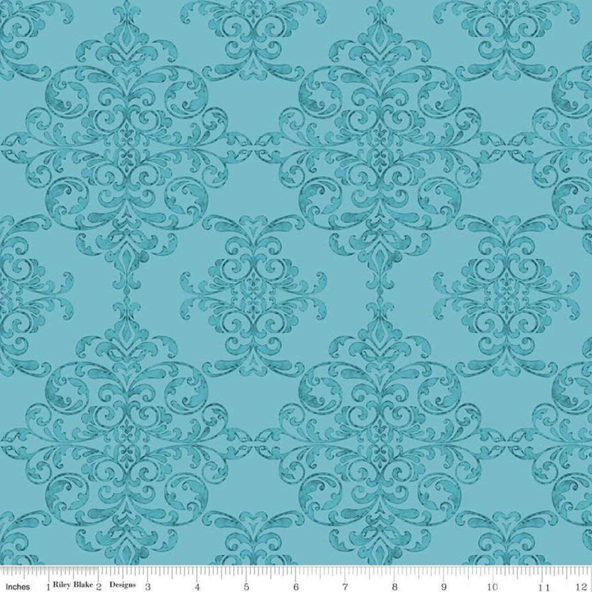 Riley Blake Designs, Lucy June -  Damask Aqua