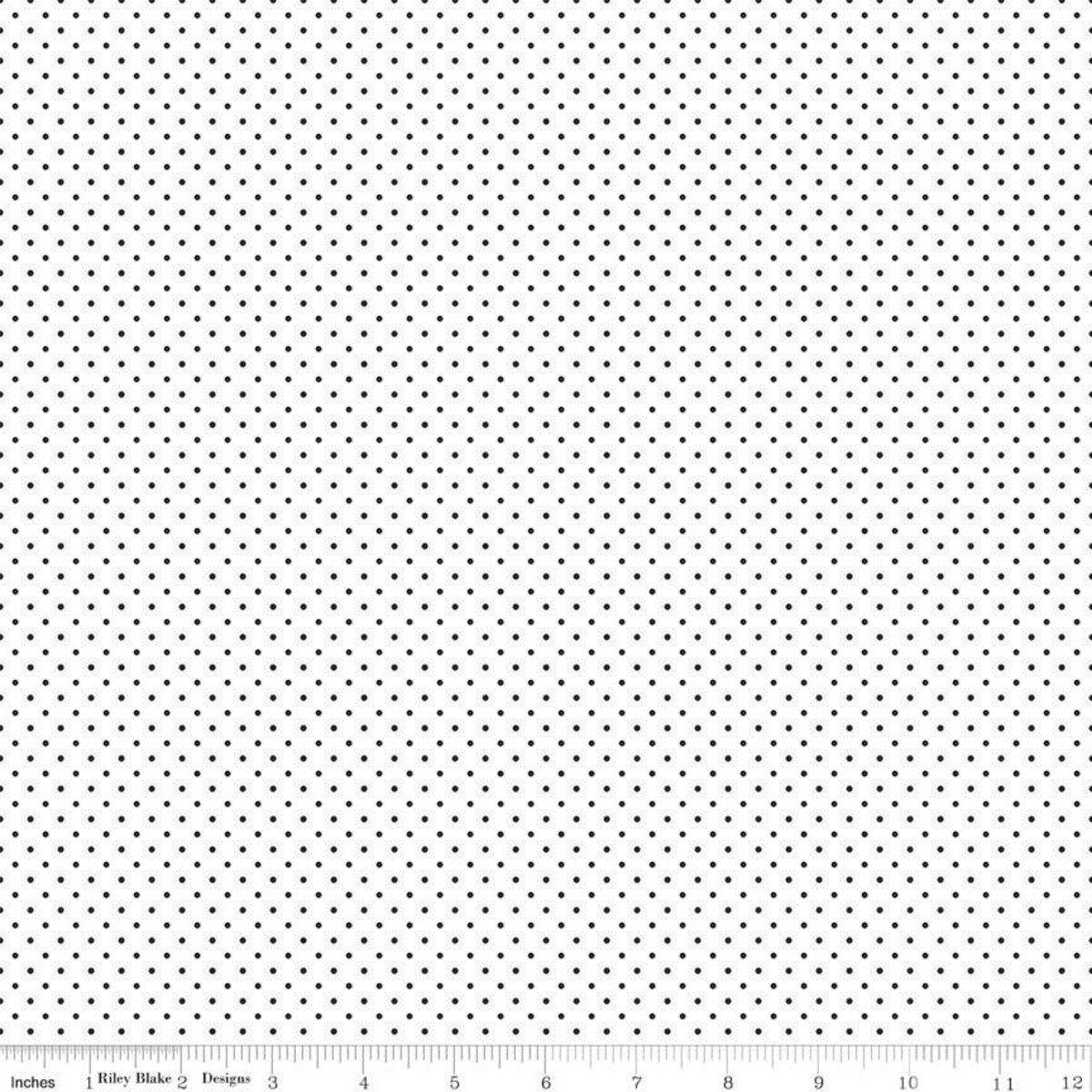 Riley Blake Designs, Swiss Dot - Swiss Dot Black on White