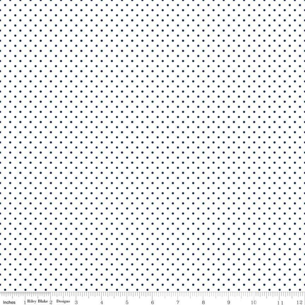 Riley Blake Designs, Swiss Dot - Swiss Dot Navy on White