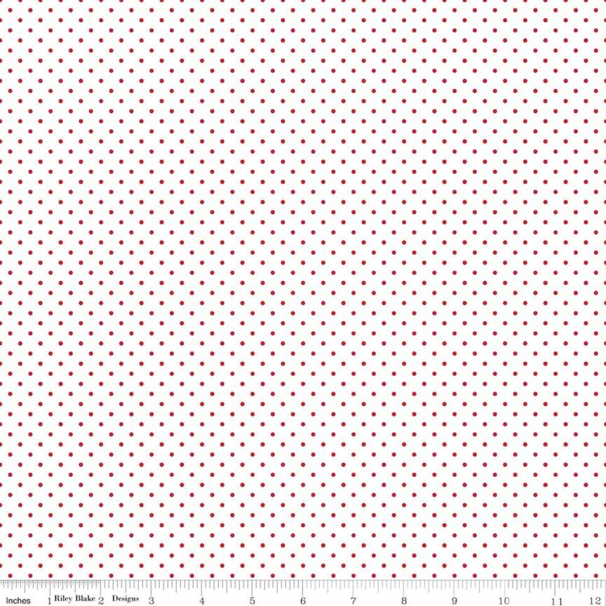 Riley Blake Designs, Swiss Dot - Swiss Dot Red on White