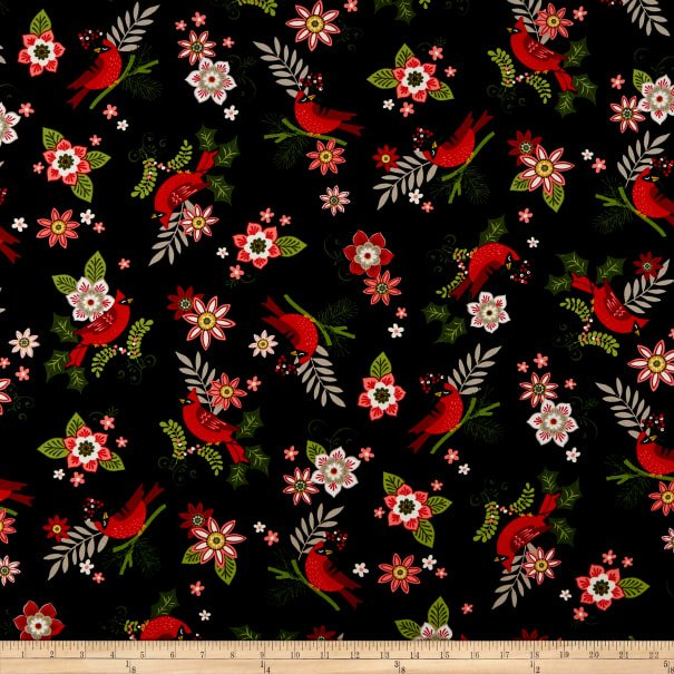 Andover, Metallic Mistletoe - Cardinals Black