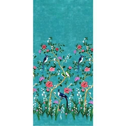 Chinoiserie Border Turquoise by Michael Miller