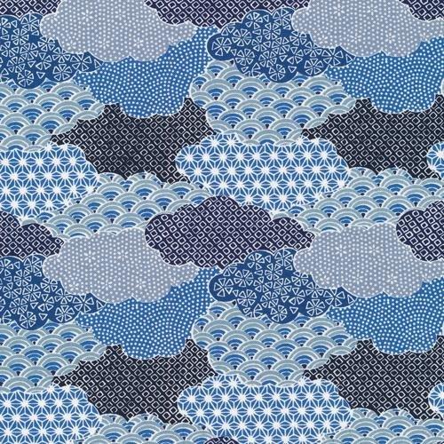 Paintbrush Studio Fabrics, Moon Rabbit, CLOUDS Blue