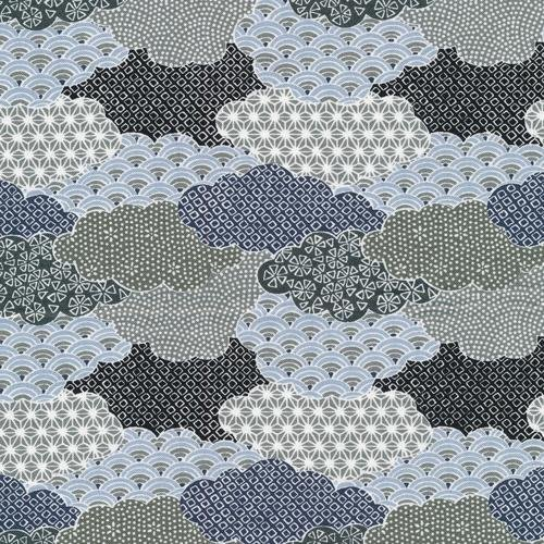 Paintbrush Studio Fabrics, Moon Rabbit, CLOUDS Grey