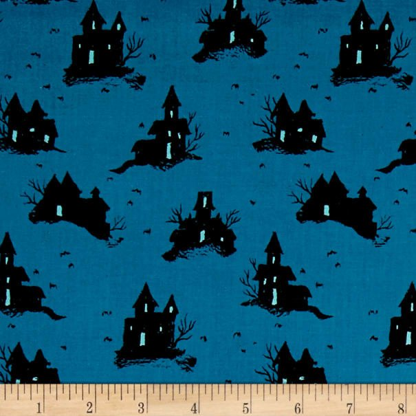 Cotton + Steel, Lil Monsters Trick Treat Blue