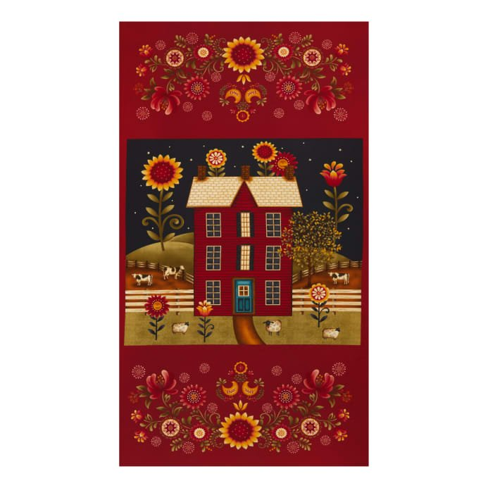 Color Principle by Henry Glass - Count Your Blessings Banner Panel Red