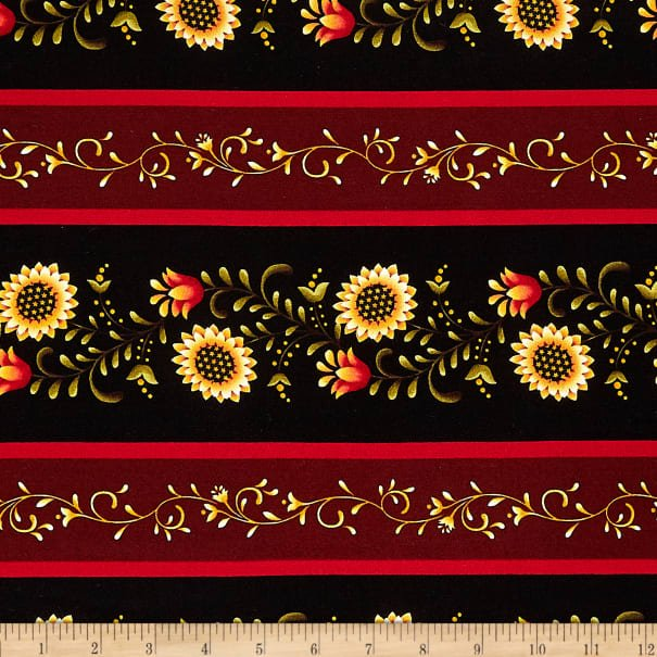 Color Principle by Henry Glass - Count Your Blessings Border Stripe Black