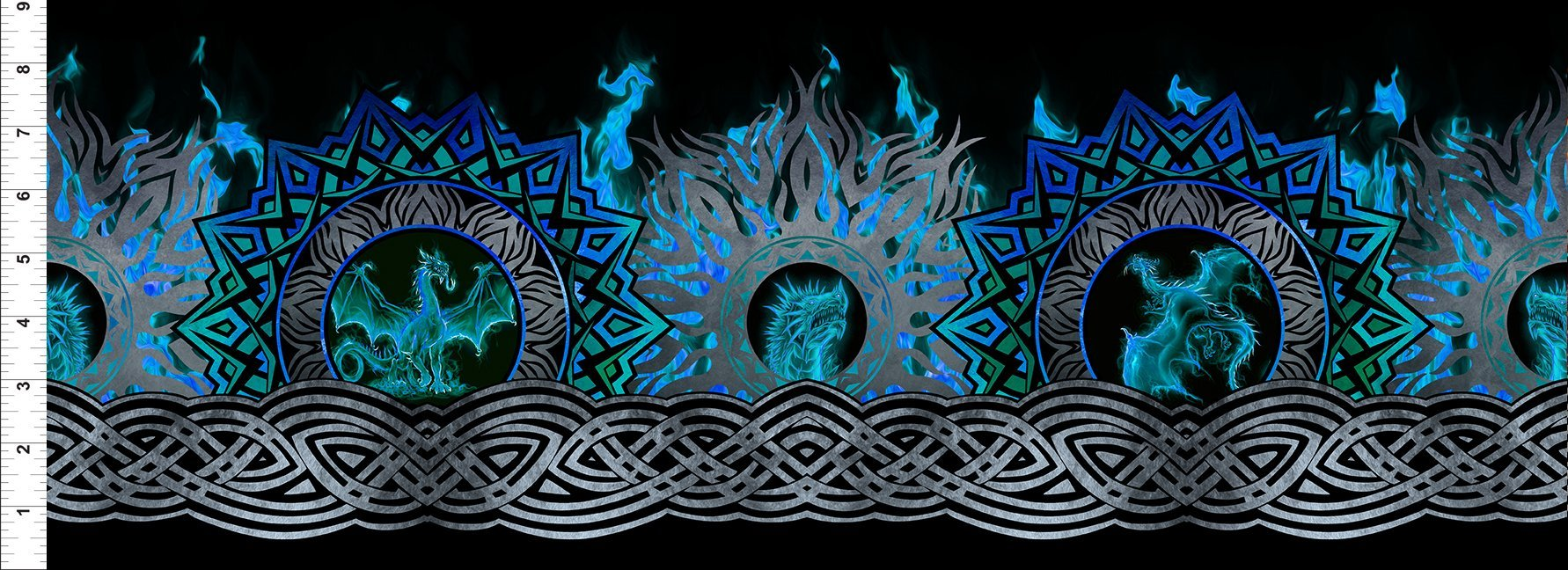 In the Beginning, Dragon - Blue Fury - Flame Border Black/Blue