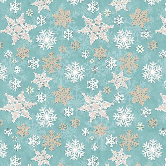 Henry Glass - Flannel I Love Sn'Gnomies  - Aqua Snowflake