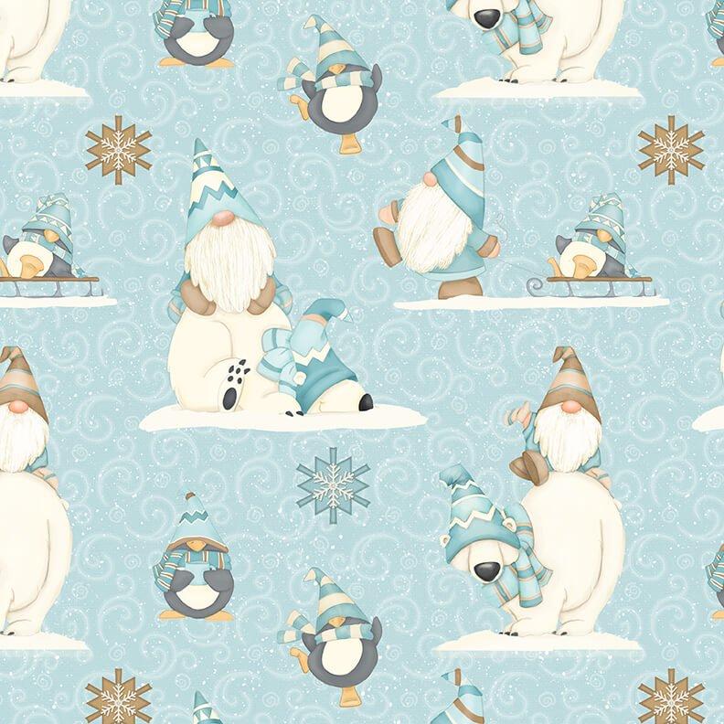 Henry Glass - Flannel I Love Sn'Gnomies  - Aqua Bear Gnome