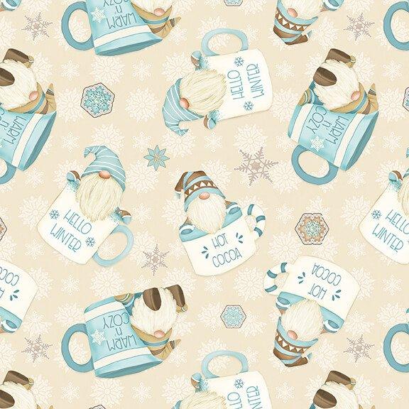 Henry Glass - Flannel I Love Sn'Gnomies  - Cream Hot Cocoa