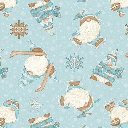 Henry Glass - Flannel I Love Sn'Gnomies  - Aqua Ski Gnomes