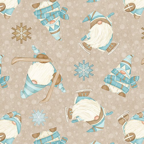 Henry Glass - Flannel I Love Sn'Gnomies  - Beige Ski Gnomes