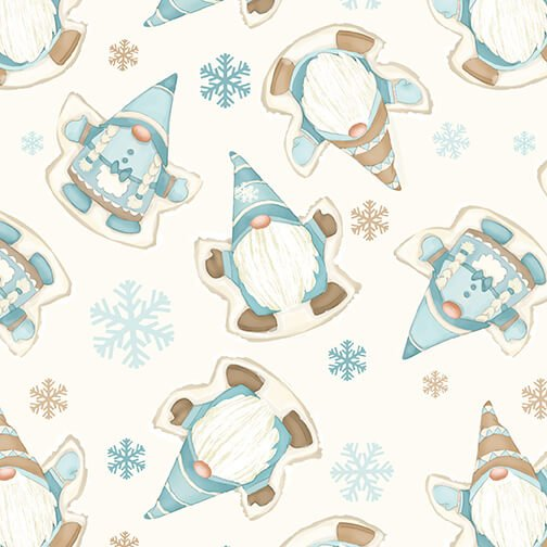 Henry Glass - Flannel I Love Sn'Gnomies  - Cream Snow Angel Gnomes