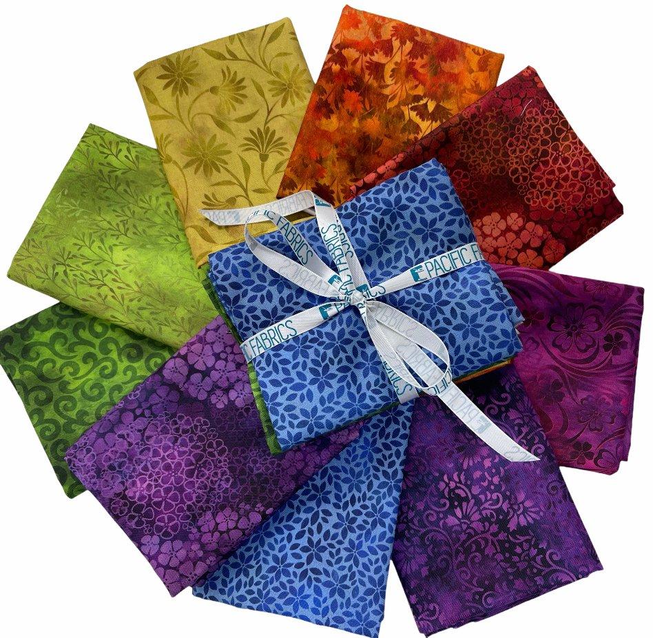 In The Beginning, Rainbow of Jewels Fat Quarter Bundle #1 - 9 pc
