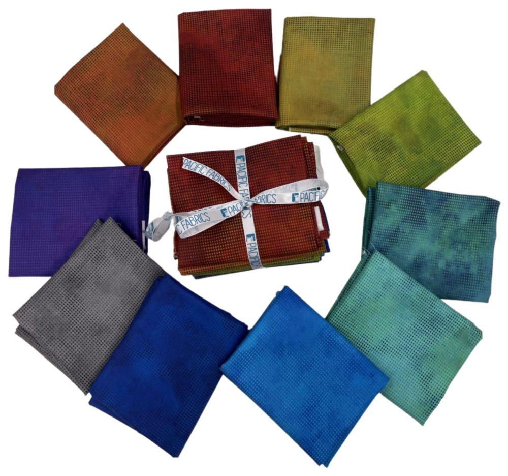 6 fat quarters in bundle 6 different Dit Dot fabric  Bluesaquas Fabric In the Beginning Dit Dot Evolution Precut Stash Builder Bundle C